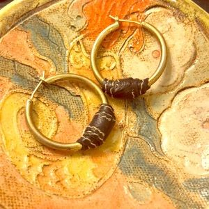 Fossil Gold Hoops wrapped w/ stitched leather
